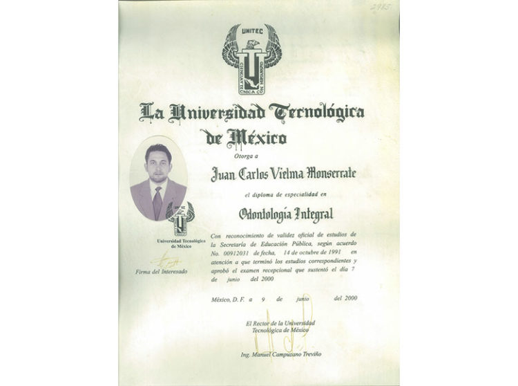 Especialidad, Dr. Juan Carlos Vielma Monserrate